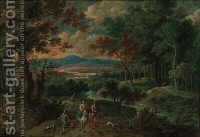 A wooded mountainous landscape with travellers on horseback with hunting dogs by (after) Pieter Gysels - Reproduction Oil Painting