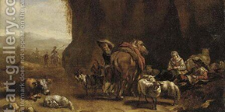 Drovers resting in a grotto by (after) Pieter Jacobsz Van Laer - Reproduction Oil Painting