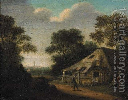A traveller on a road by a farmhouse, a village beyond by (after) Pieter Jansz. Van Asch - Reproduction Oil Painting