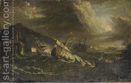 A coastal landcsape with ships in a storm by (after) Pieter The Younger Mulier (Tampesta, Pietro) - Reproduction Oil Painting