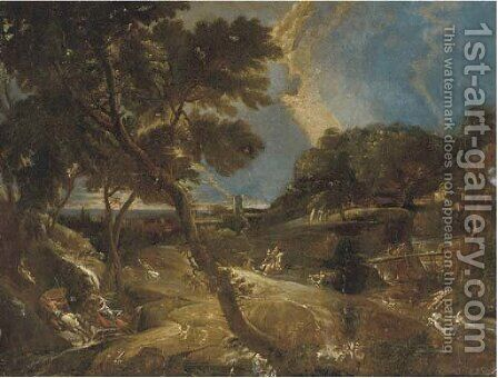 An extensive landscape with a stag hunt by (after) Pieter Meulener - Reproduction Oil Painting