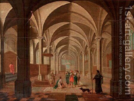 The transept of a gothic church with Christ and the Woman taken in Adultery by (after) Peeter, The Elder Neeffs - Reproduction Oil Painting