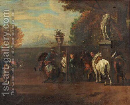 A hunting party and cavalrists at a riding school, in Italianate landscapes by (after) Pieter Van Bloemen - Reproduction Oil Painting