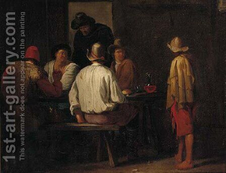 Peasants drinking in a tavern by (after) Pieter Van Laer (BAMBOCCIO) - Reproduction Oil Painting