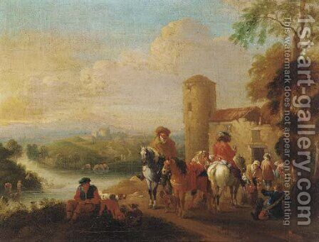 Mounted travellers at halt by an inn, a river and town beyond by (after) Pieter Wouwermans Or Wouwerman - Reproduction Oil Painting