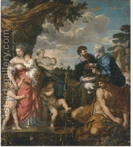 Jacob and Laban by (after) Pietro Da Cortona (Barrettini) - Reproduction Oil Painting