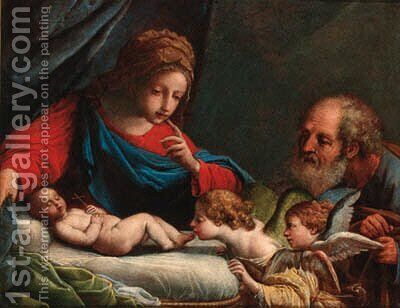 The Holy Family with cherubs by (after) Pietro De Pietri - Reproduction Oil Painting