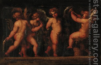 Putti desporting with fruit by (after) Polidoro Da Caravaggio (Caldara) - Reproduction Oil Painting