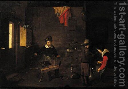 A man at the spinning-wheel in an interior by (after) Quiringh Gerritsz. Van Brekelenkam - Reproduction Oil Painting
