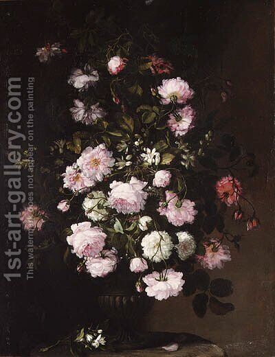 Roses and orange blossom in a vase on a pedestal by (after) Rachel Ruysch - Reproduction Oil Painting