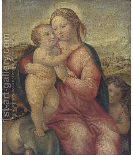 The Madonna and Child with the Infant Saint John the Baptist 2 by (after) Raphael (Raffaello Sanzio of Urbino) - Reproduction Oil Painting