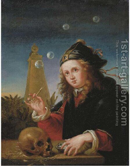 A young boy blowing soap bubbles by (after) Reinier De La Haye - Reproduction Oil Painting
