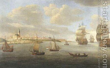 Men-o'-war and other shipping off Fort Rammekens, Flushing by (after) Reiner Nooms (Zeeman) - Reproduction Oil Painting