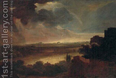 An extensive stormy landscape with a coastal inlet beyond by (after) Rembrandt Van Rijn - Reproduction Oil Painting