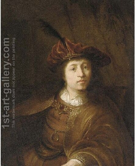 A young man in Oriental costume by (after) Rembrandt Van Rijn - Reproduction Oil Painting