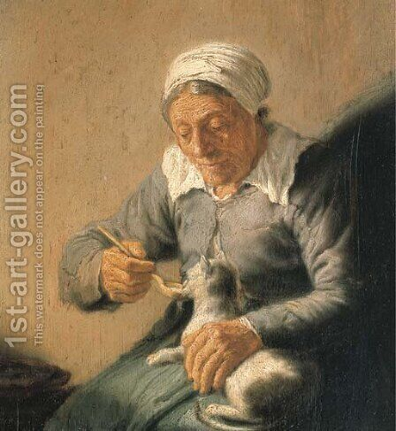 An old peasant woman feeding a cat milk by (after) Rembrandt Van Rijn - Reproduction Oil Painting