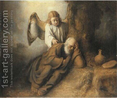 Elijah visited by an Angel by (after) Rembrandt Van Rijn - Reproduction Oil Painting
