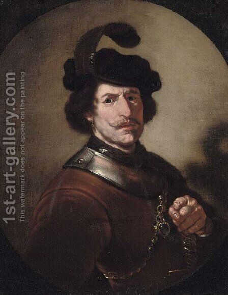 Portrait of a gentleman by (after) Rembrandt Van Rijn - Reproduction Oil Painting