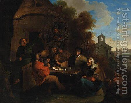 Peasants seated at a Table before an Inn by (after) Richard Brackenburgh - Reproduction Oil Painting