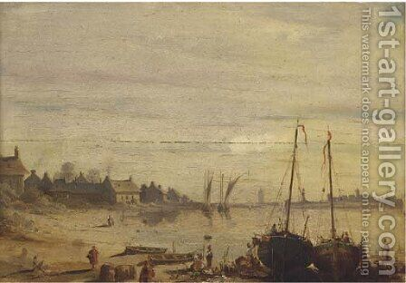 Low-tide off a fishing village by (after) Richard Parkes Bonington - Reproduction Oil Painting