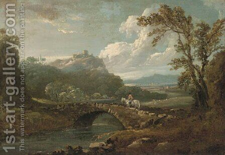 A horse and rider on a stone bridge by (after) Richard Wilson - Reproduction Oil Painting
