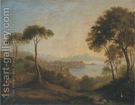Figures before the Bay of Naples by (after) Richard Wilson - Reproduction Oil Painting