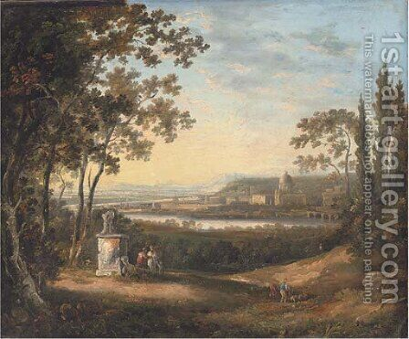 Figures by a fallen statue, Rome beyond by (after) Richard Wilson - Reproduction Oil Painting