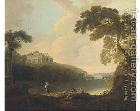 Figures before a classical ruin by (after) Richard Wilson - Reproduction Oil Painting