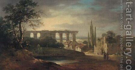 Figures in an Italianate landscape by (after) Richard Wilson - Reproduction Oil Painting