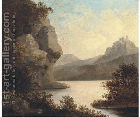 View of a lake, with a castle beyond by (after) Richard Wilson - Reproduction Oil Painting