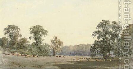 Deer grazing in Richmond Park by (after) Robert Hills - Reproduction Oil Painting