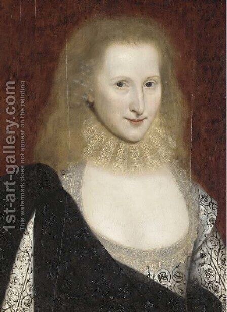 Portrait of a Lady, said to be Anne of Denmark by (after) Robert Peake - Reproduction Oil Painting