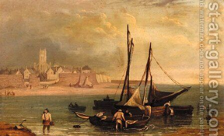 Fishermen by their boats close to shore with a town beyond by (after) Robert Salmon - Reproduction Oil Painting