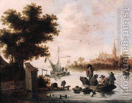Fishermen laying lobster pots from a rowing boat on a river by (after) Salomon Van Ruysdael - Reproduction Oil Painting