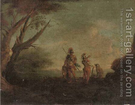 A landscape with three soldiers by (after) Rosa, Salvator - Reproduction Oil Painting