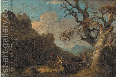 A mountainous landscape with figures resting by a tree by (after) Rosa, Salvator - Reproduction Oil Painting