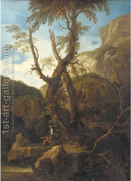 A rocky landscape with anglers by a stream by (after) Rosa, Salvator - Reproduction Oil Painting