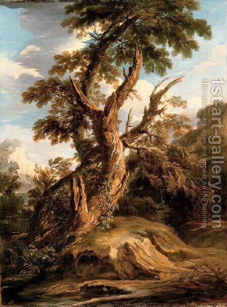 A tree on a bank in a riverbed by (after) Rosa, Salvator - Reproduction Oil Painting