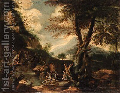 A wooded Italianate landscape with banditti on an outcrop by (after) Rosa, Salvator - Reproduction Oil Painting