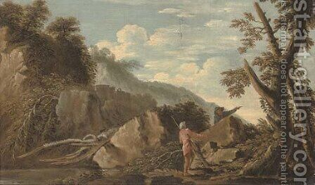 A wooded river landscape with figures in the foreground and a castle beyond by (after) Rosa, Salvator - Reproduction Oil Painting