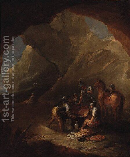 Brigands distributing Loot in a Cavern by (after) Rosa, Salvator - Reproduction Oil Painting