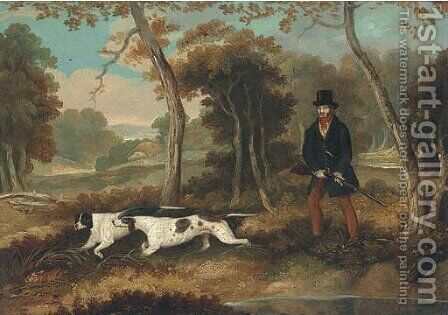 A huntsman with two pointers by (after) Samuel John Egbert Jones - Reproduction Oil Painting