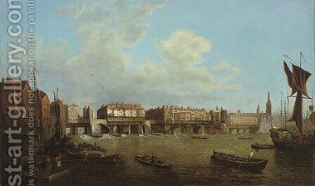 An extensive view of the Thames and the city of London by (after) Samuel Scott - Reproduction Oil Painting