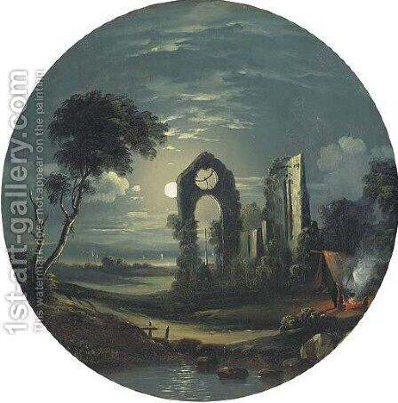 Figures camping next to ruins by moonlight by (after) Sebastian Pether - Reproduction Oil Painting