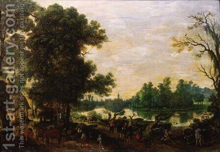 Peasants returning from market on a road by a river by (after) Sebastian Vrancx - Reproduction Oil Painting