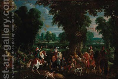 A hawking party in an extensive wooded landscape by (after) Sebastian Vranx - Reproduction Oil Painting