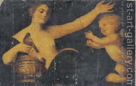 Venus and Cupid by (after) Sebastiano Del Piombo (Luciani) - Reproduction Oil Painting