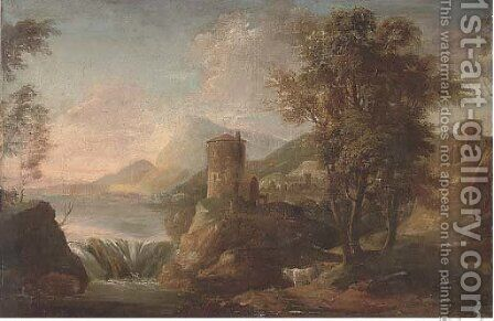 A landscape with figures under a tower by a waterfall by (after) Sebastiano Ricci - Reproduction Oil Painting