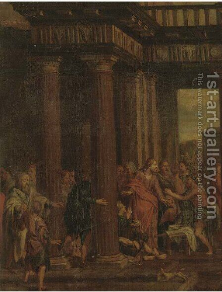 Christ driving the Money-changers from the Temple by (after) Sebastiano Ricci - Reproduction Oil Painting