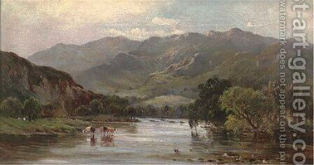 Cattle watering in a mountainous landscape by (after) Sidney Richard Percy - Reproduction Oil Painting